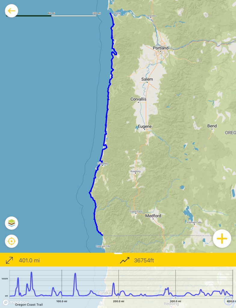 Screen shot: Map of the coast with a blue line for the trail and an elevation profile