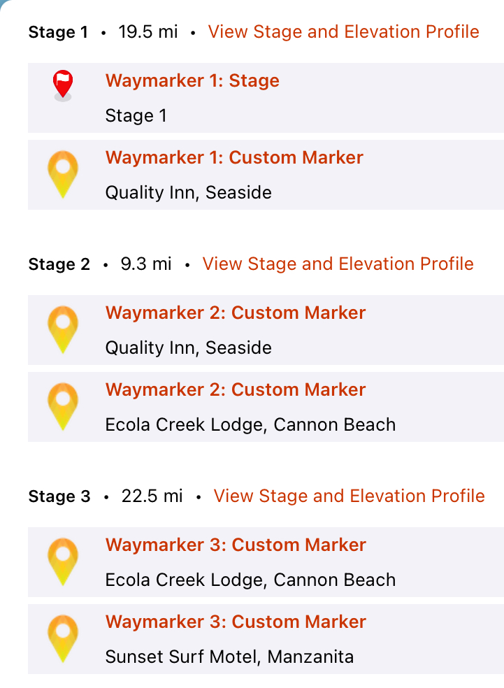 Screen shot showing custom hike stages